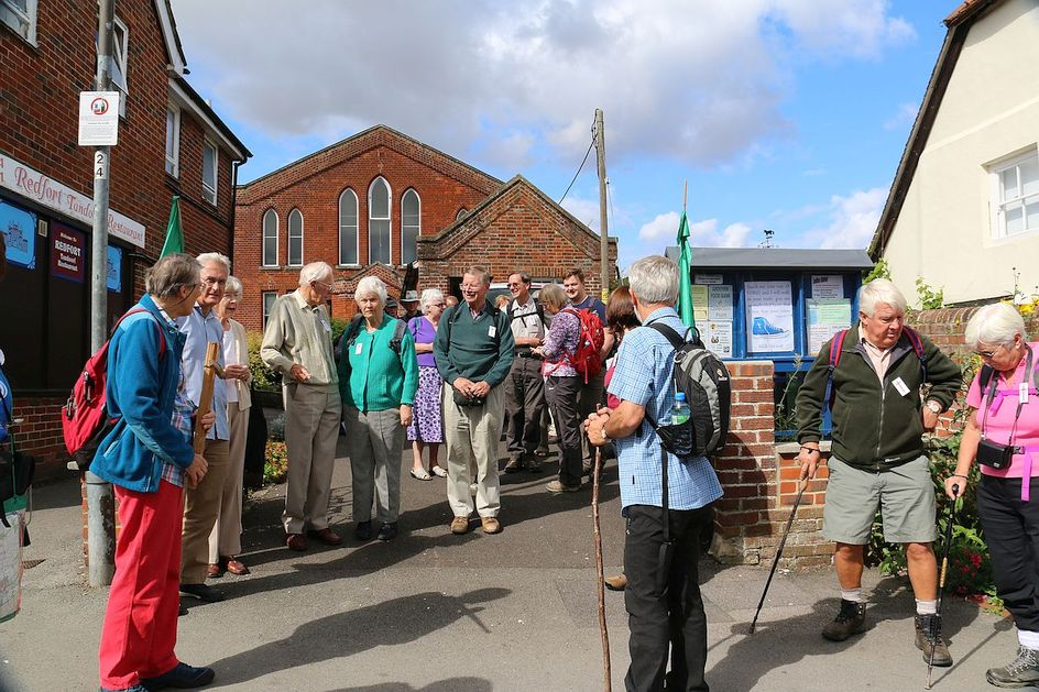 Pilgrimage Day 1 Outside Overton Methodist Church, ready for the off!