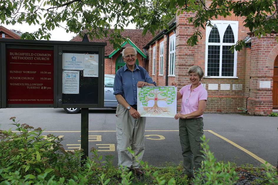 Pilgrimage Day 3 Terry and Alison with the Circuit Tree at Burghfield Common Methodist Church