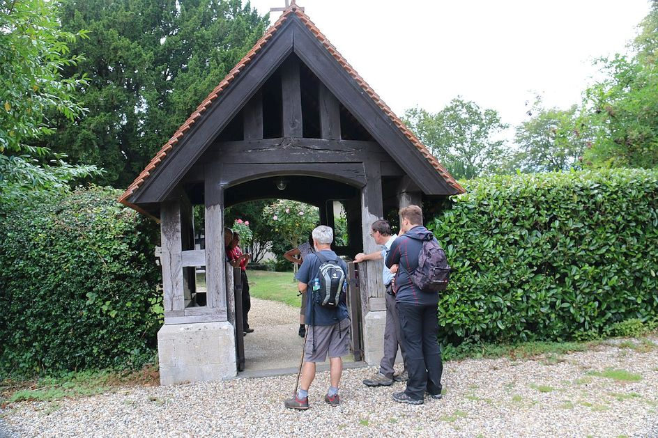 Pilgrimage Day 3 An interesting lych gate on the way towards Bradfield
