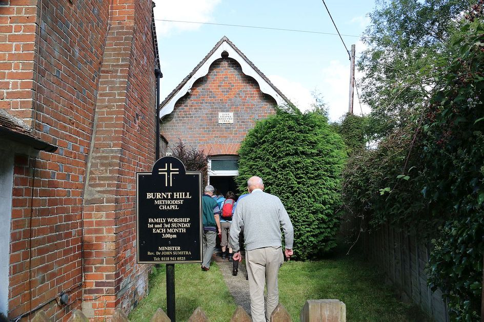 Pilgrimage Day 4 Heading in to Burnt Hill Methodist Church